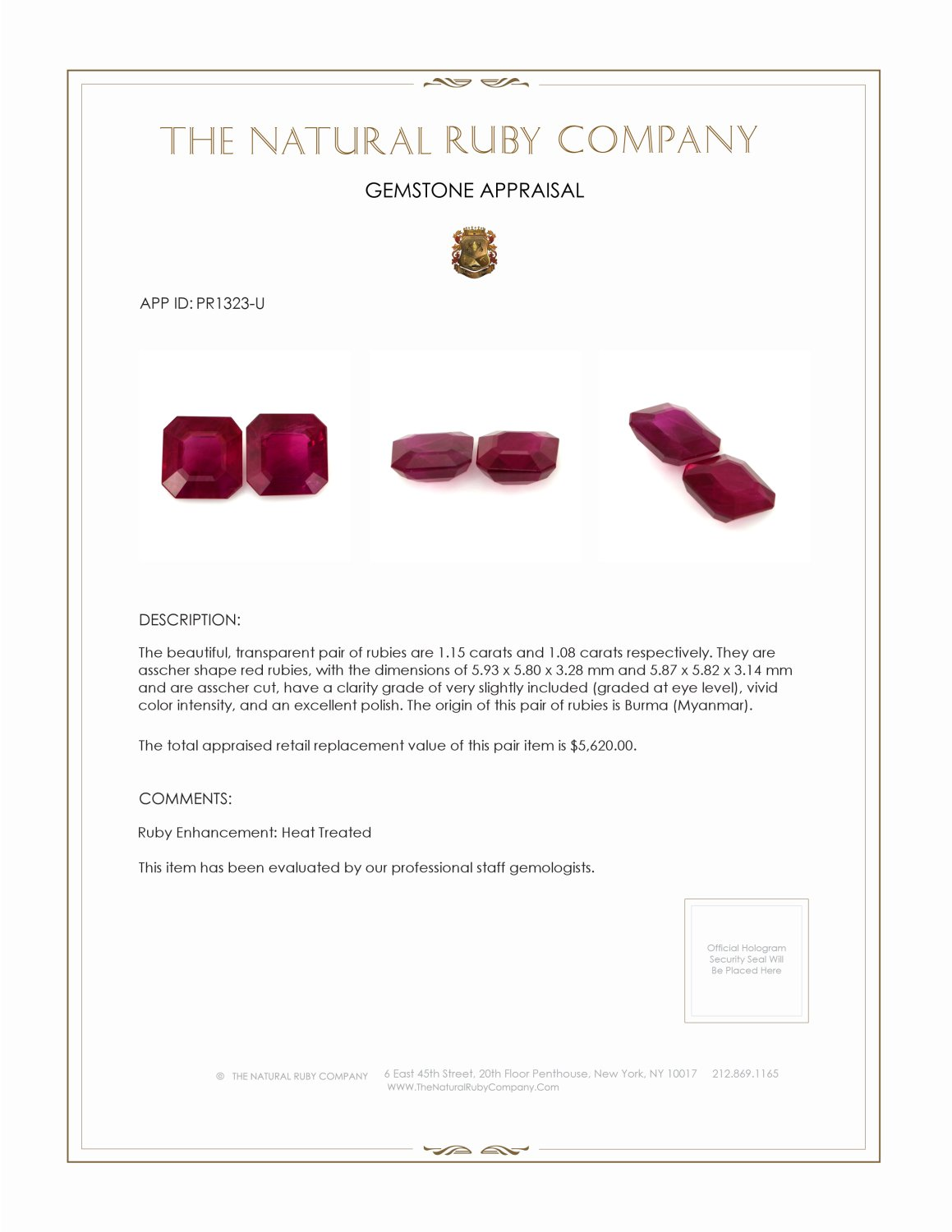 2.23ct Natural Asscher Ruby Pair PR1323-U Certification 2