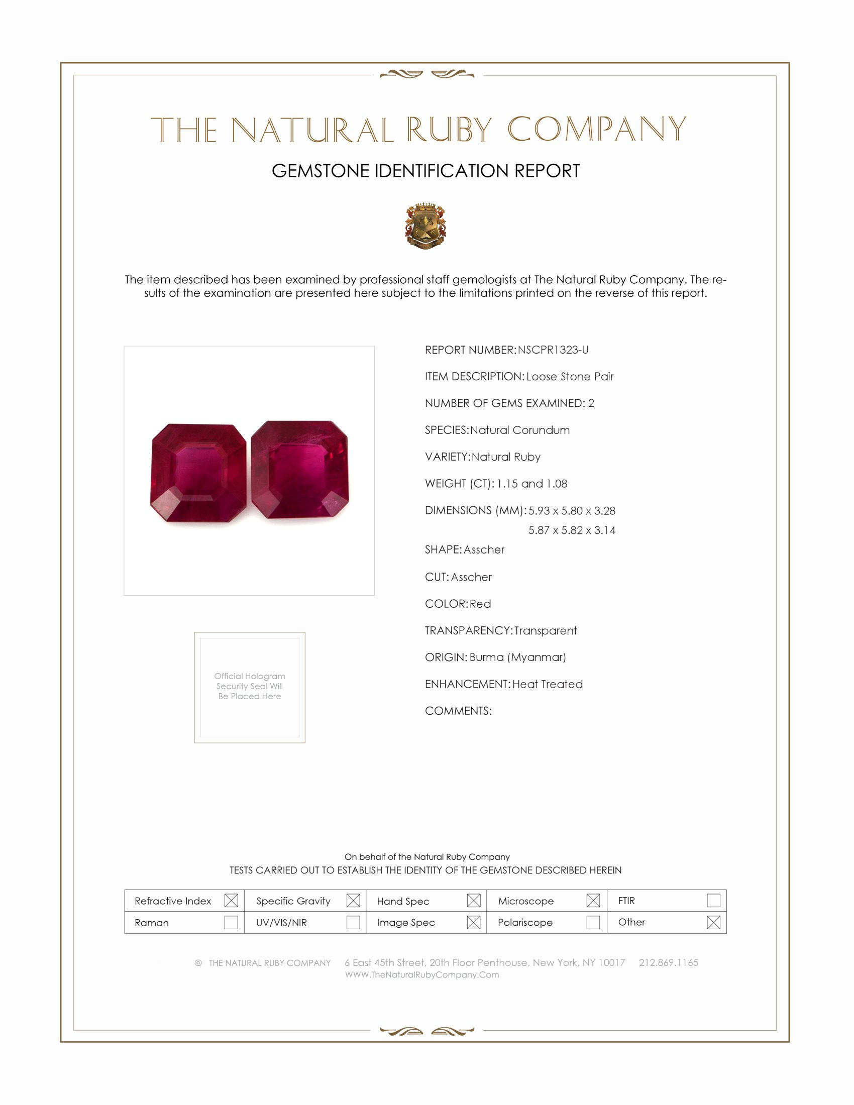 2.23ct Natural Asscher Ruby Pair PR1323-U Certification