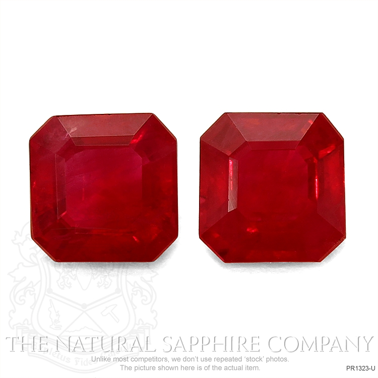 2.23ct Natural Asscher Ruby Pair PR1323-U Image
