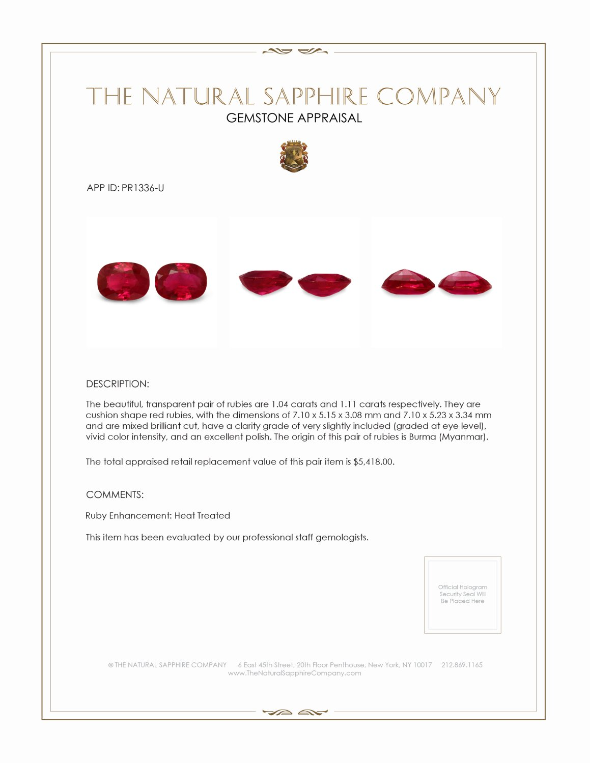 2.15ct Natural Cushion Ruby Pair PR1336-U Certification 2