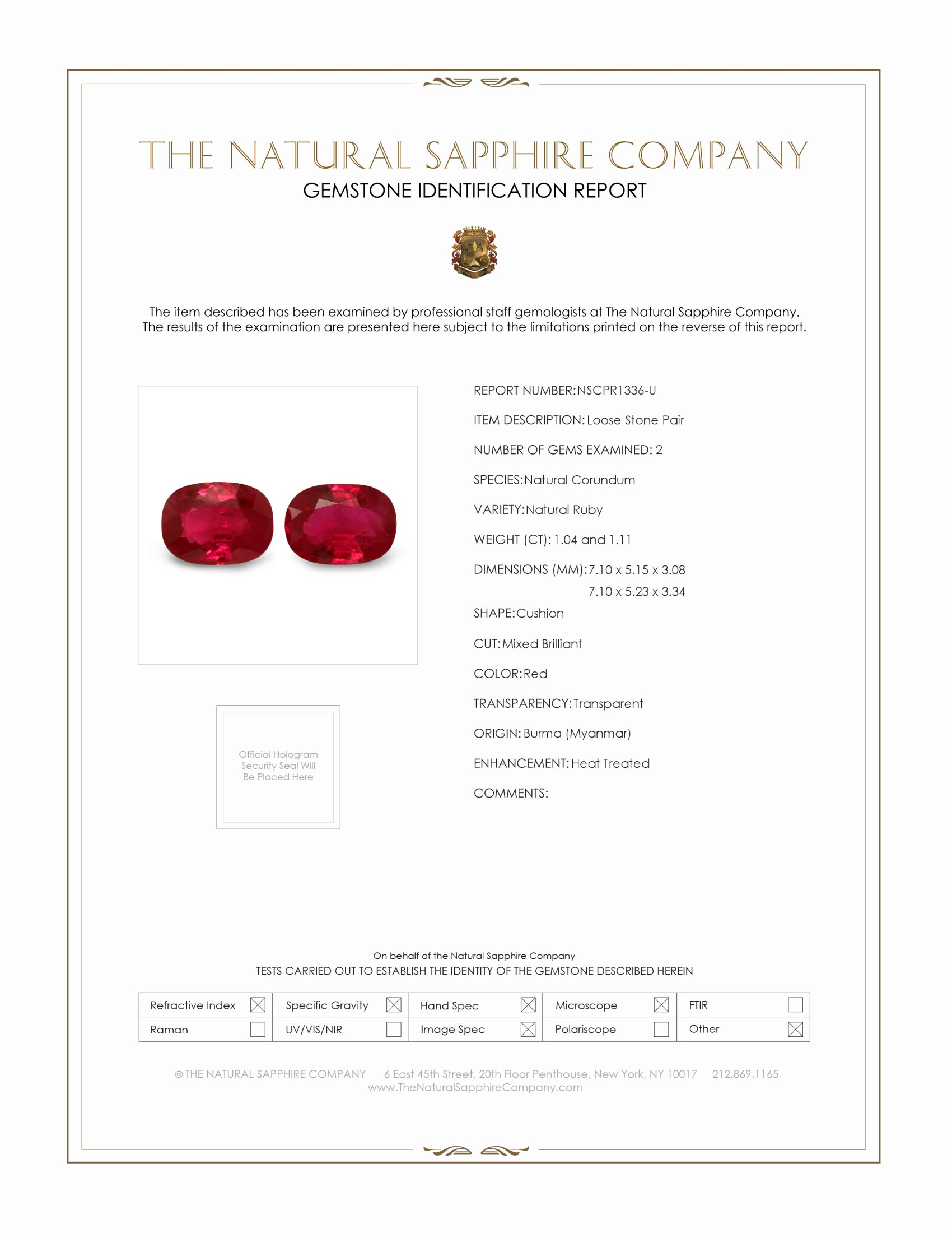 2.15ct Natural Cushion Ruby Pair PR1336-U Certification