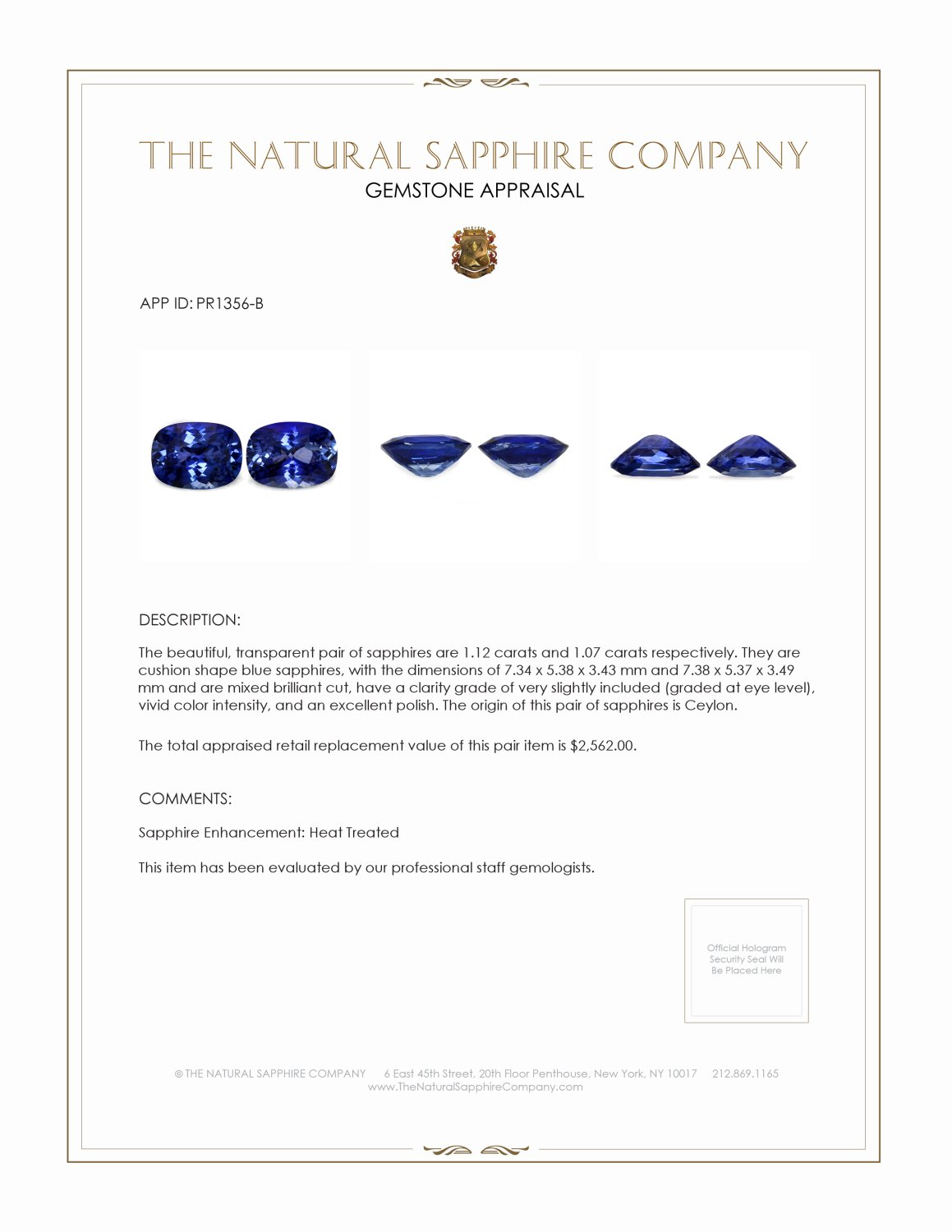 2.19cts Natural Cushion Cut Blue Sapphire Pair PR1356-B Certification 2