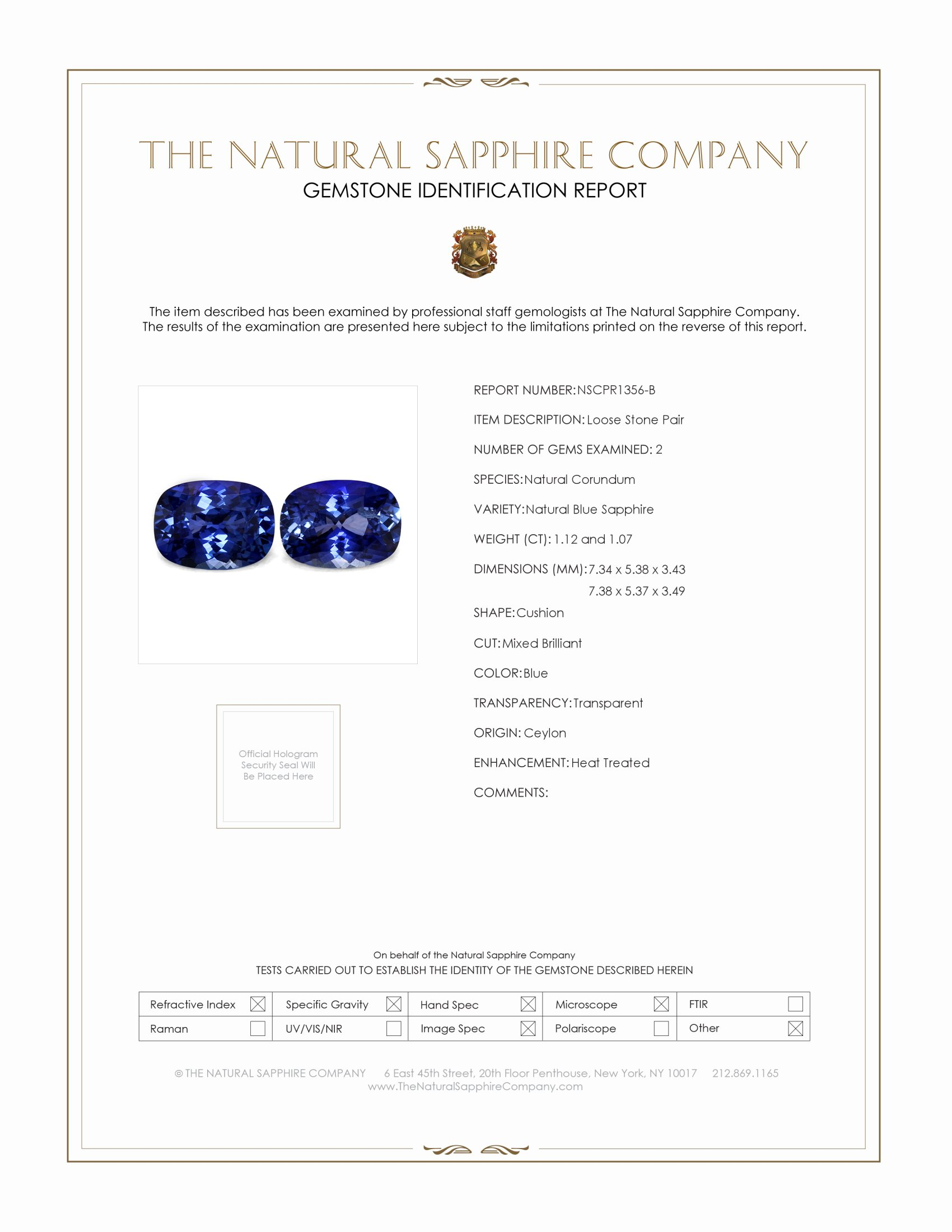 2.19cts Natural Cushion Cut Blue Sapphire Pair PR1356-B Certification