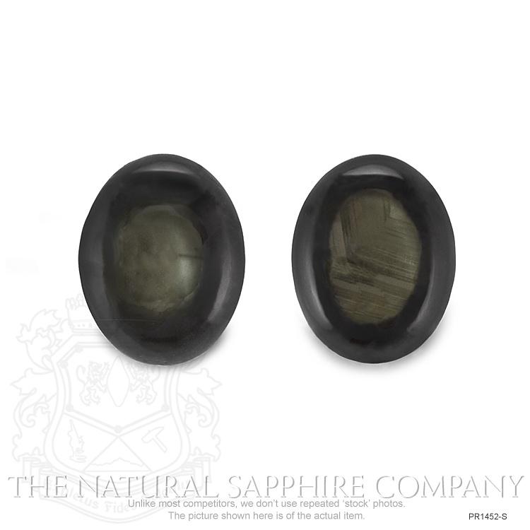 Natural Untreated Thailand Black Star Sapphire Pair PR1452-S Image 2