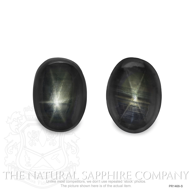 Natural Untreated Thailand Black Star Sapphire Pair PR1468-S Image