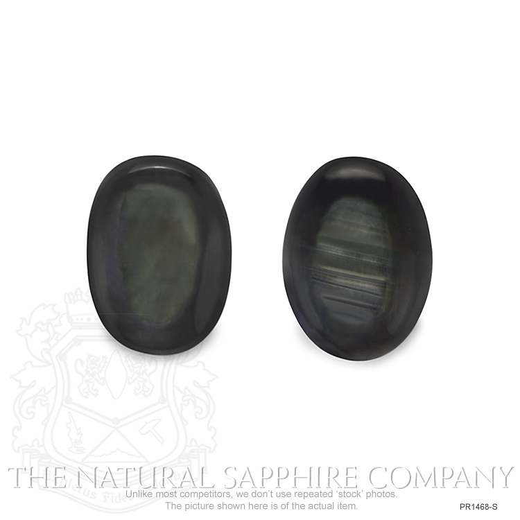 Natural Untreated Thailand Black Star Sapphire Pair PR1468-S Image 2