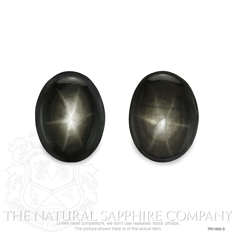 Natural Untreated Thailand Black Star Sapphire Pair PR1469-S Image