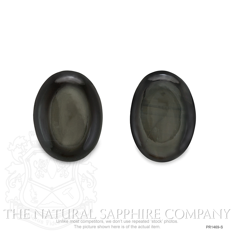 Natural Untreated Thailand Black Star Sapphire Pair PR1469-S Image 2