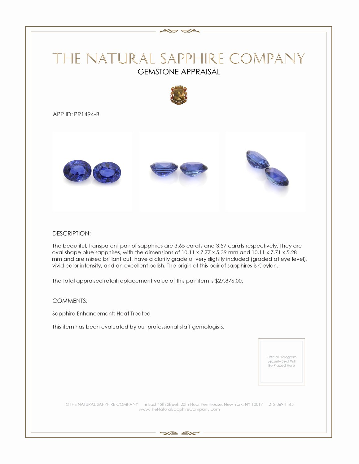 7.22ct Natural Blue Sapphire Pair PR1494-B Certification 3