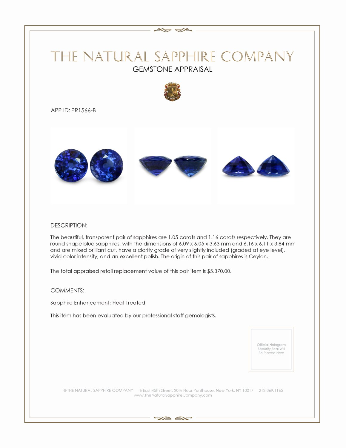 2.21ct Natural Blue Sapphire Pair PR1566-B Certification 2