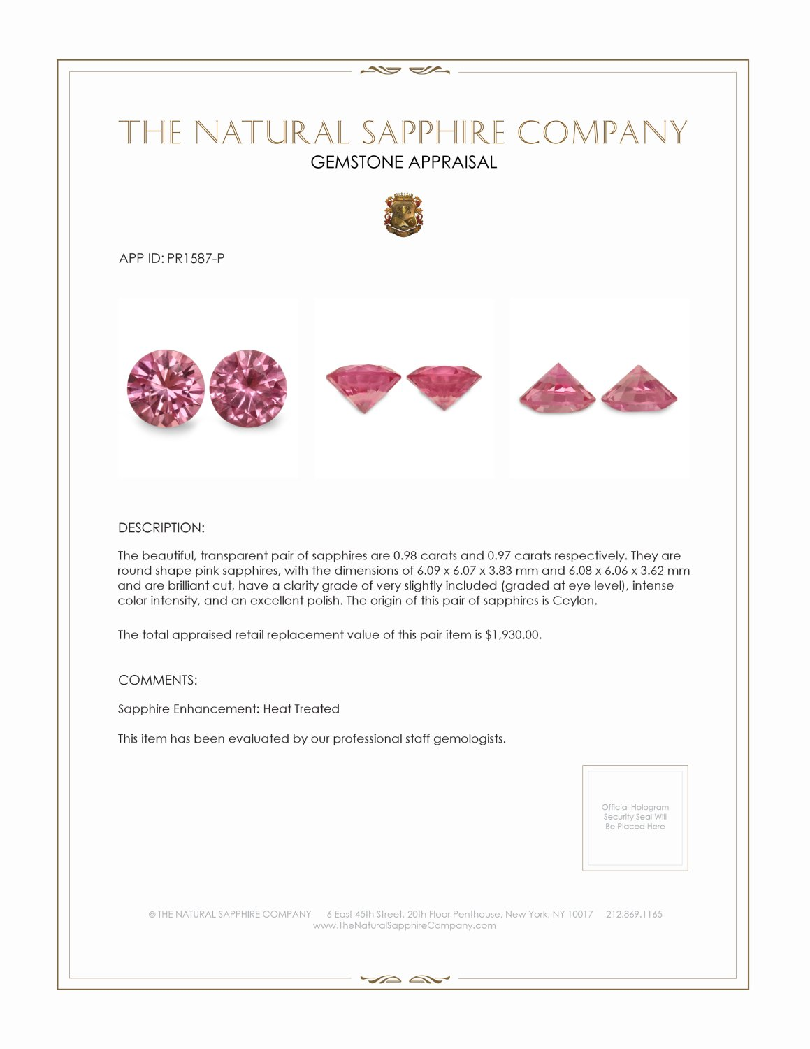 1.95ct Natural Round Pink Sapphire Pair PR1587-P Certification