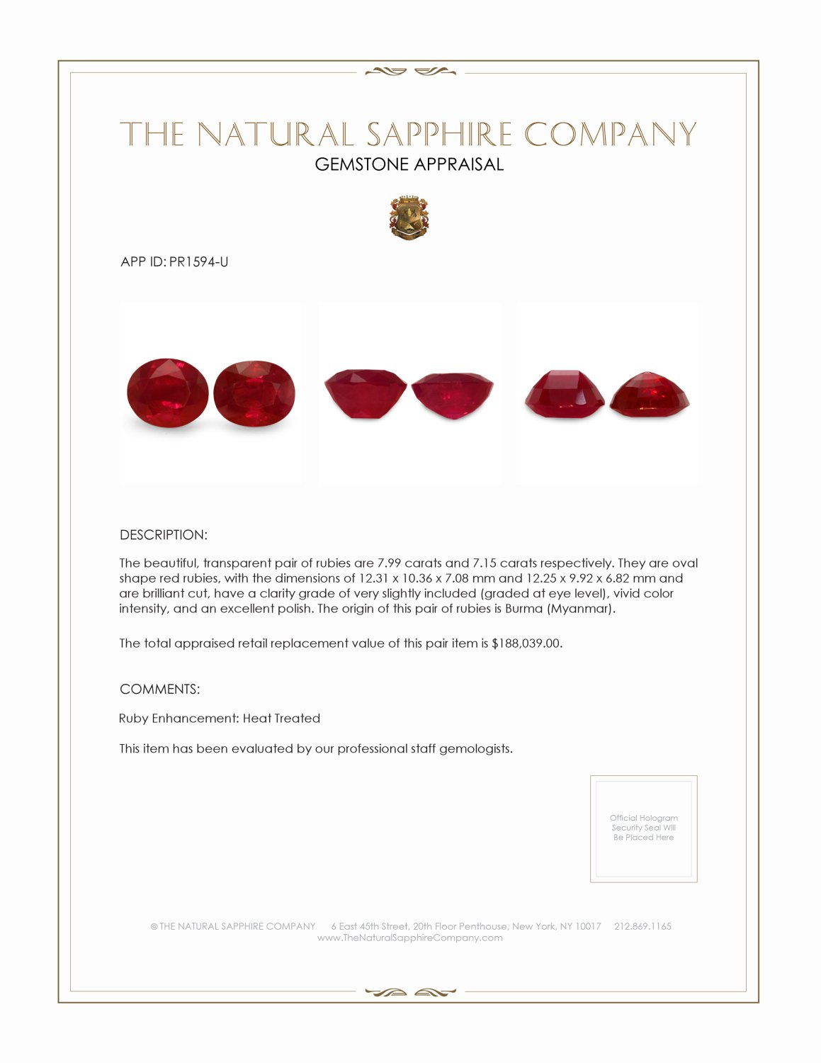15.14ct Natural Oval Burma Ruby Pair  PR1594-U Certification 4