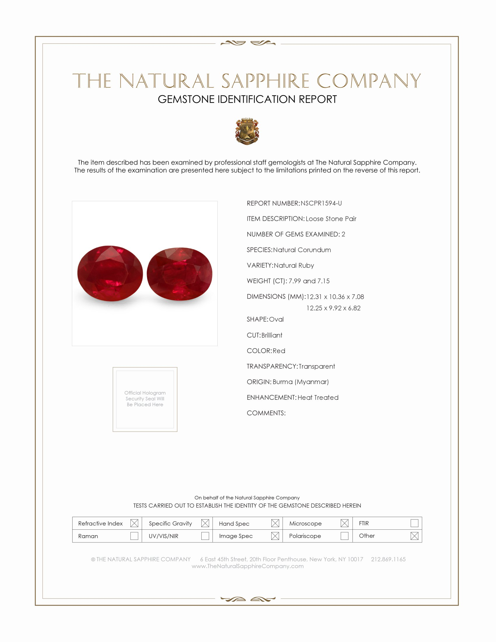 15.14ct Natural Oval Burma Ruby Pair  PR1594-U Certification