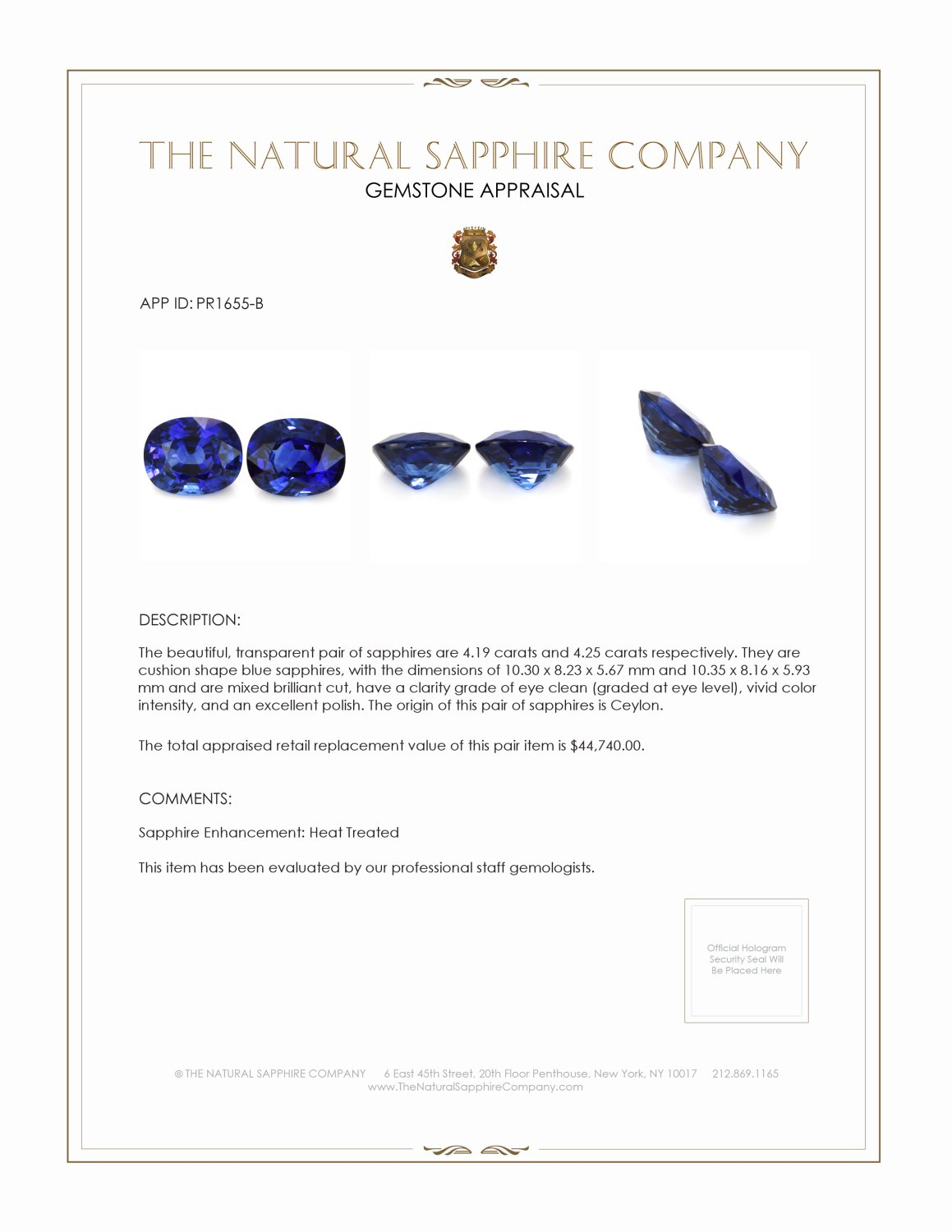 8.44ct natural untreated blue sapphire cushion pairs PR1655-B Certification 2