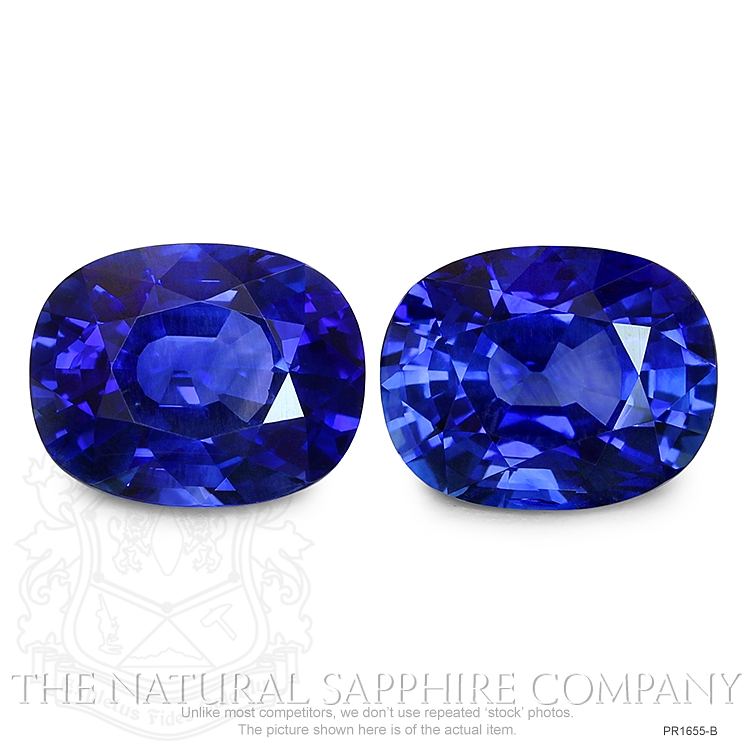 8.44ct natural untreated blue sapphire cushion pairs PR1655-B Image