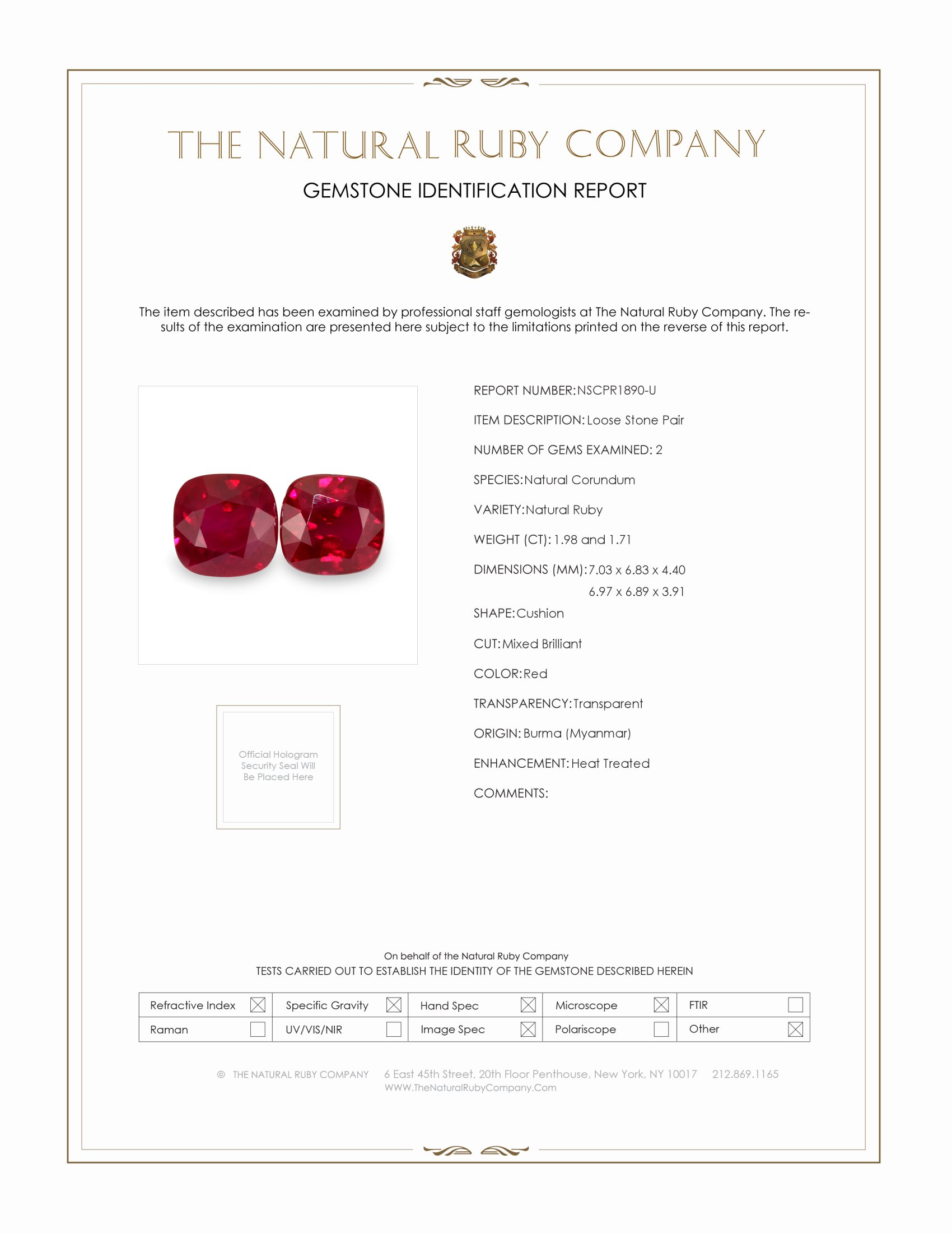 3.69ct Total Heated Natural Ruby Pair PR1890-U Certification