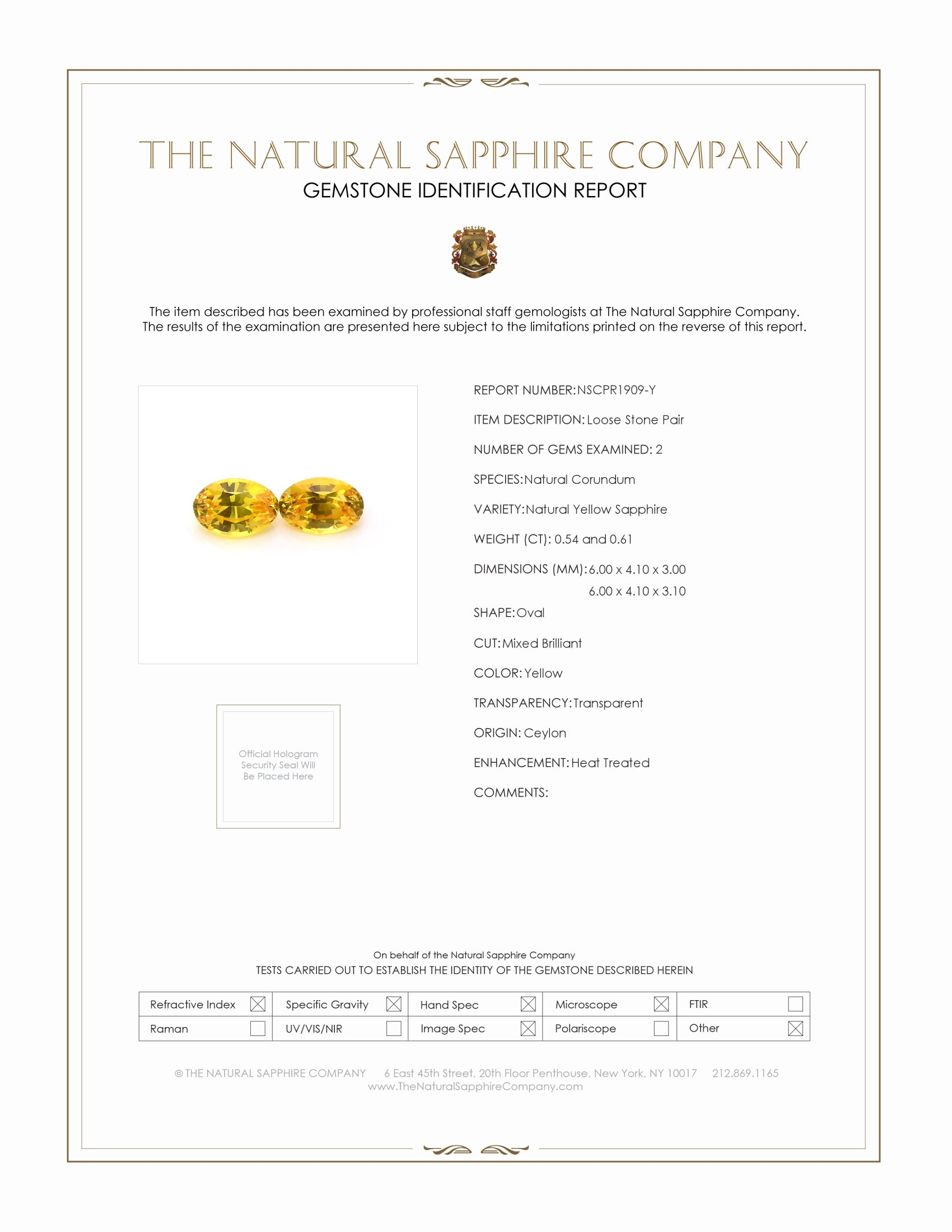 1.15ct Natural Yellow Sapphire Pair PR1909-Y Certification