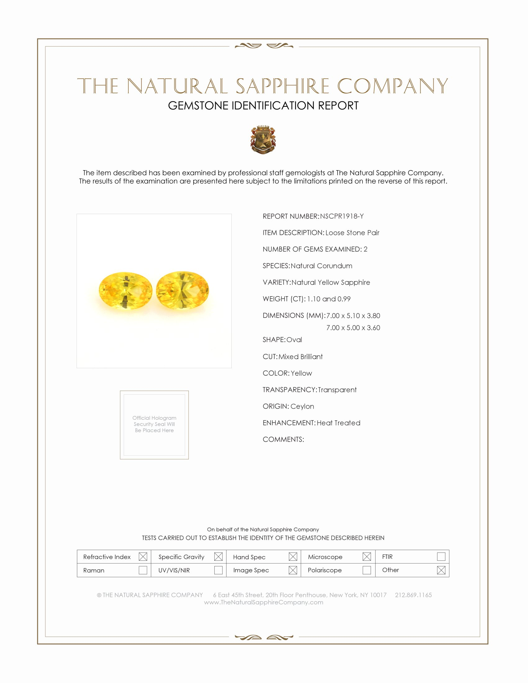 2.08ct Natural Yellow Sapphire Pair PR1918-Y Certification