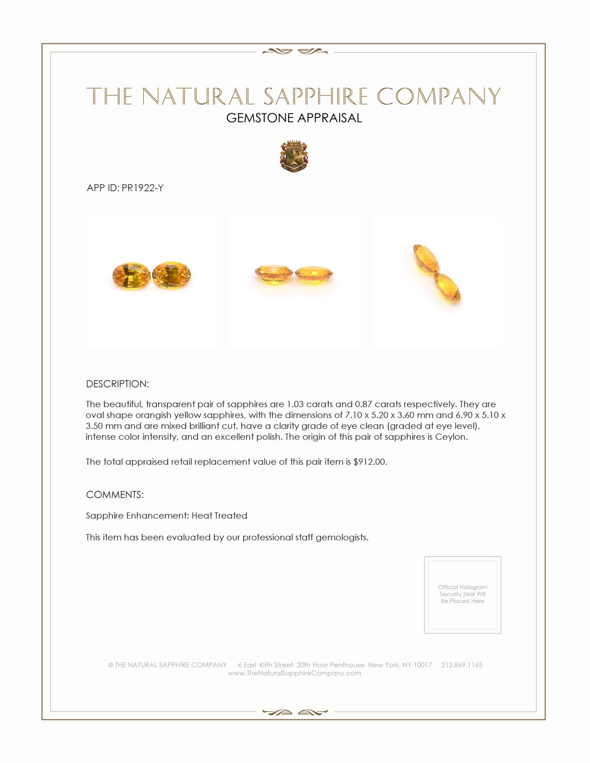 1.90ct Natural Yellow Sapphire Pair PR1922-Y Certification 2