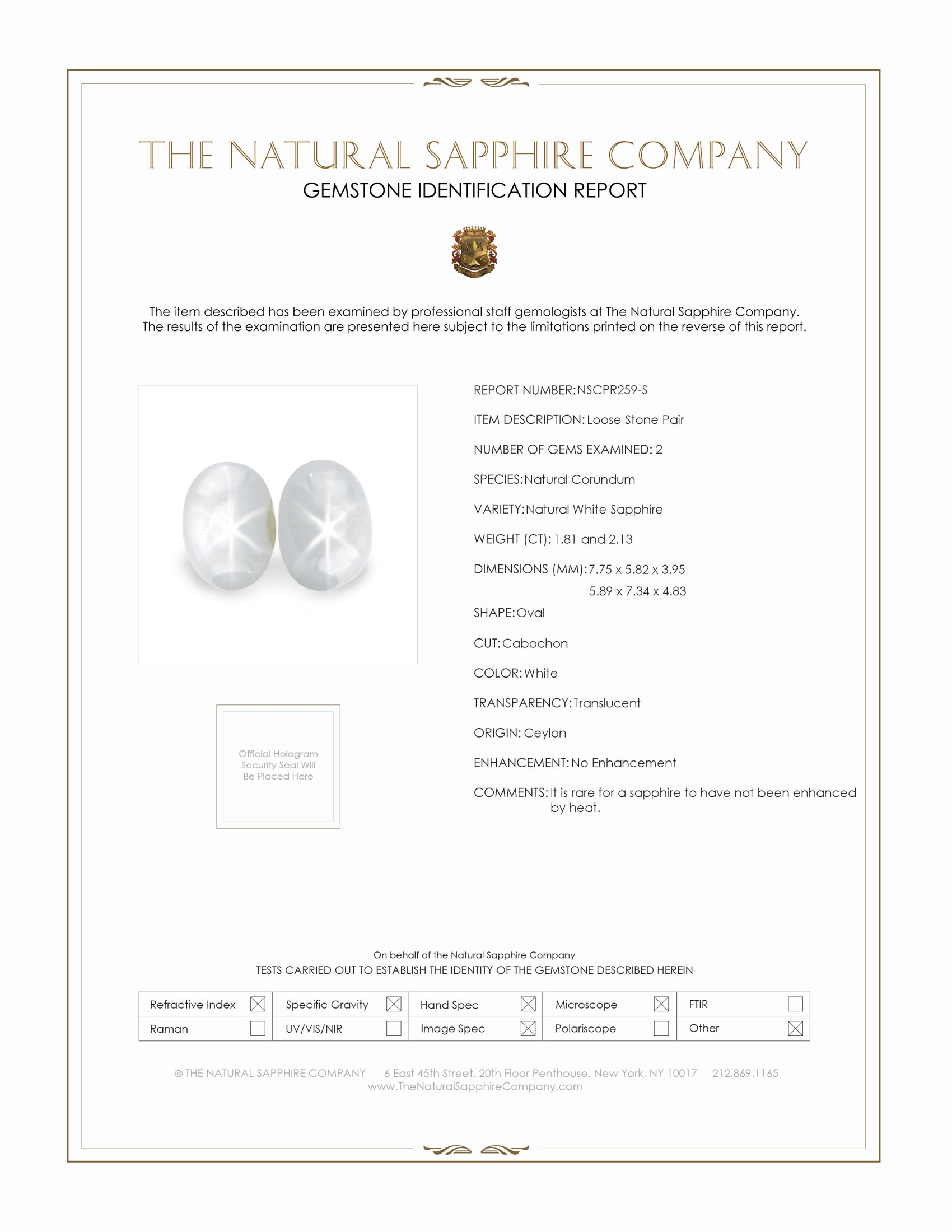 Natural Untreated Star Sapphire pair PR259-S Certification