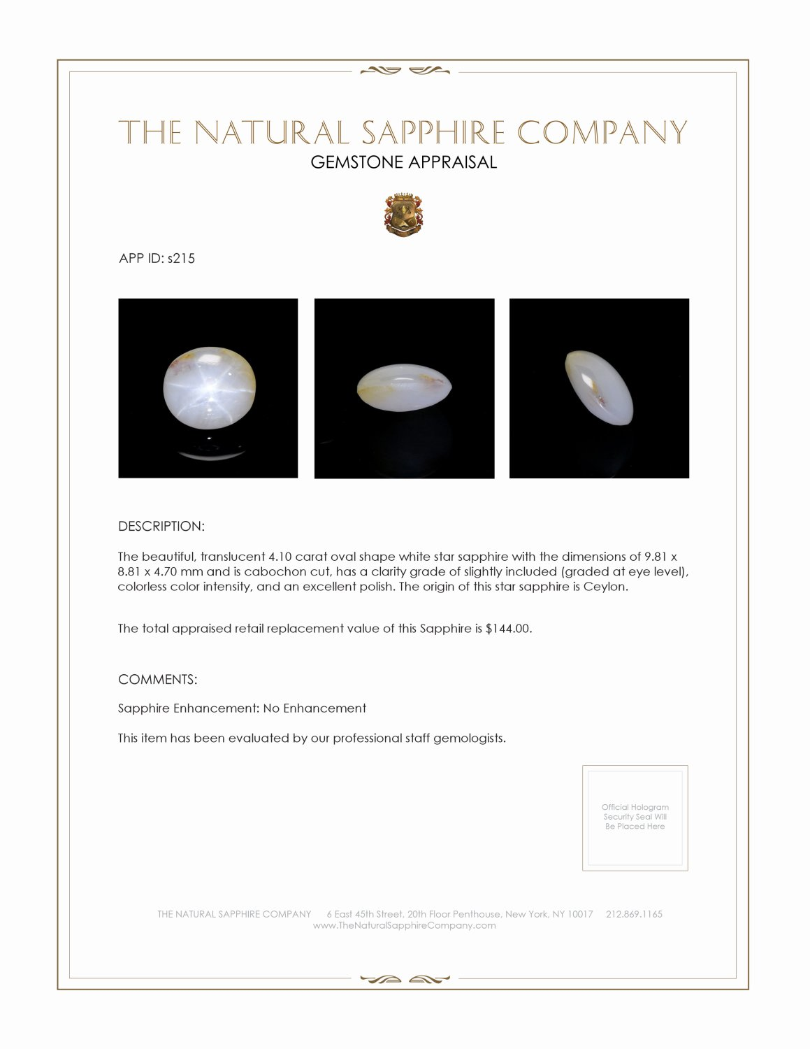 Natural Untreated Star Sapphire S215 Certification 3