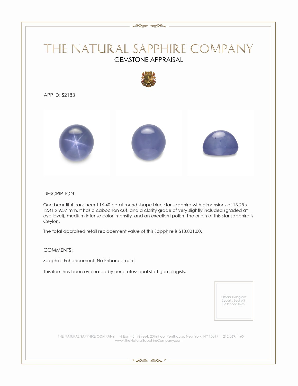 Natural Untreated Blue Star Sapphire S2183 Certification 2