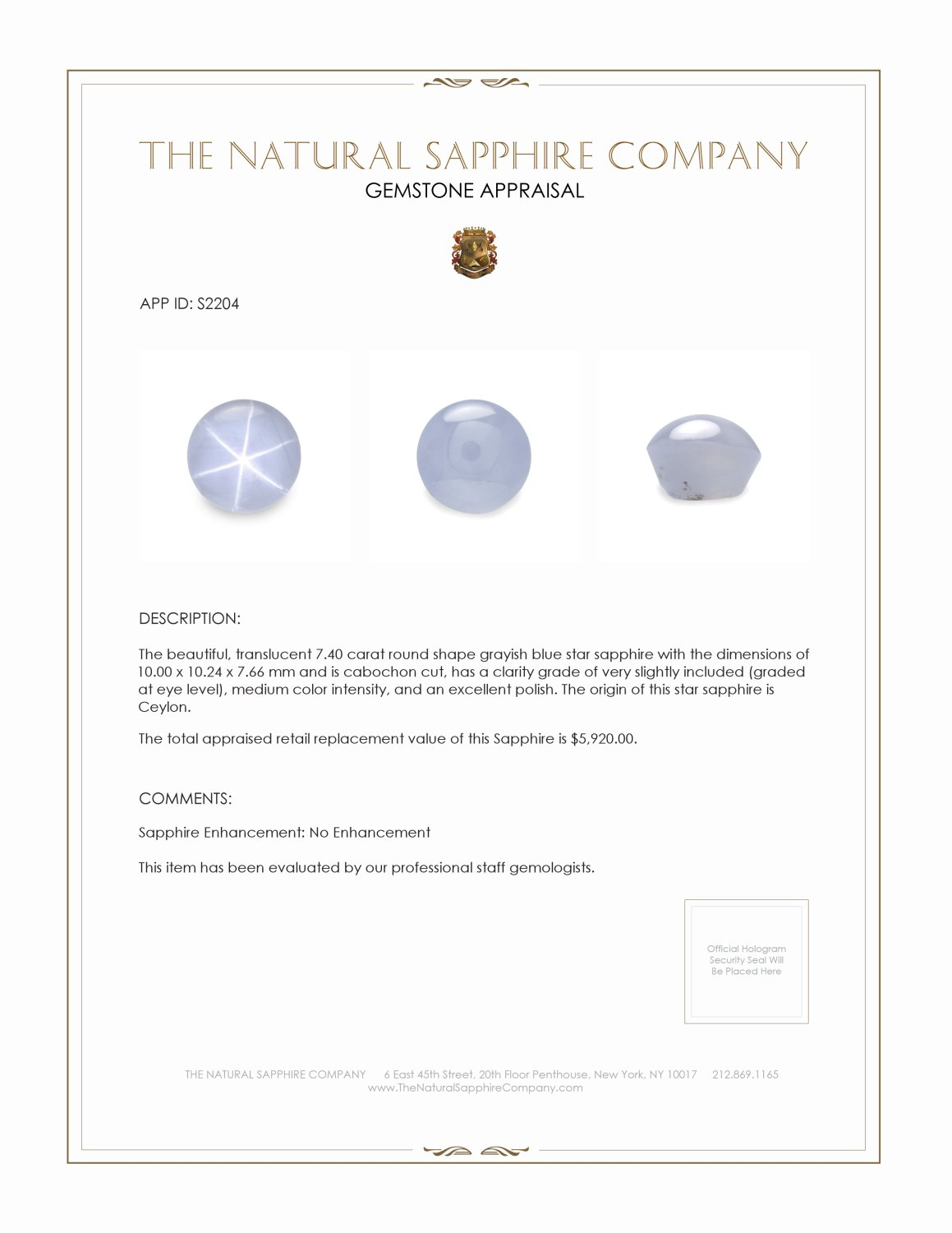 Natural Untreated Grayish Blue Star Sapphire S2204 Certification 2