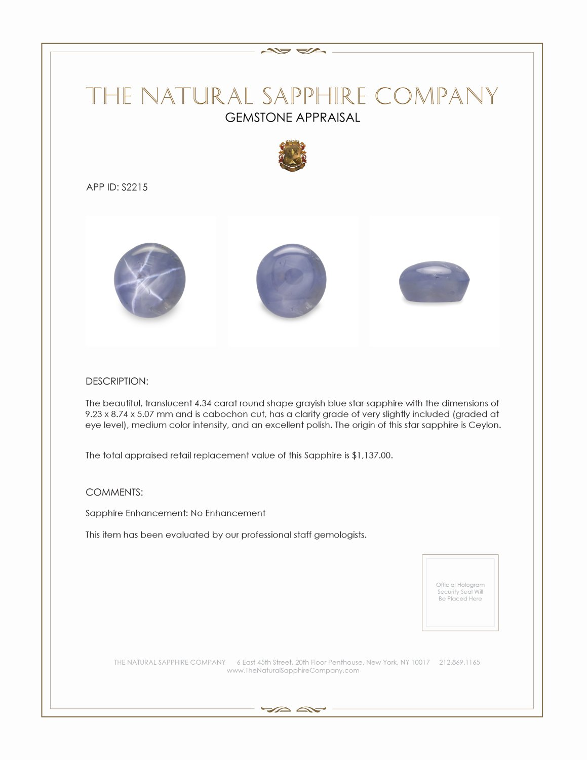 Natural Untreated Blue Star Sapphire S2215 Certification 2