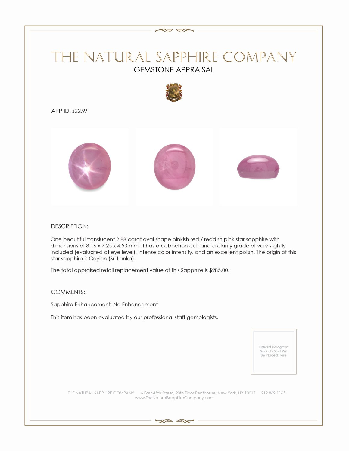 Natural Untreated Star Sapphire S2259 Certification 2