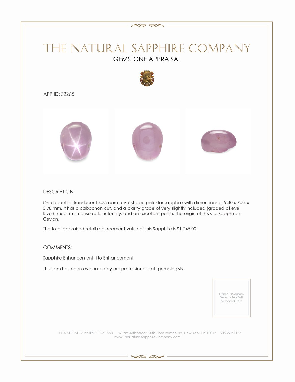Natural Untreated Star Sapphire S2265 Certification 2