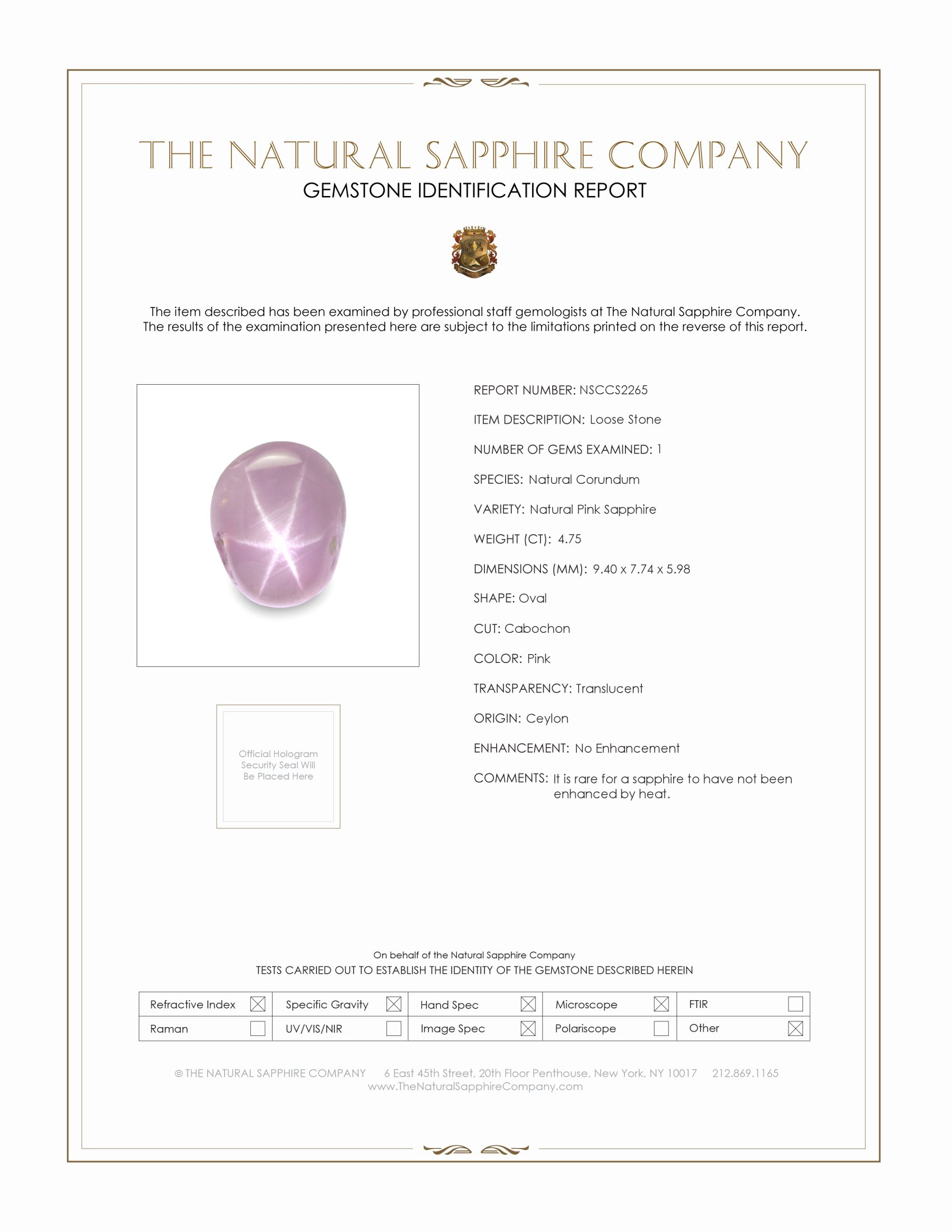 Natural Untreated Star Sapphire S2265 Certification