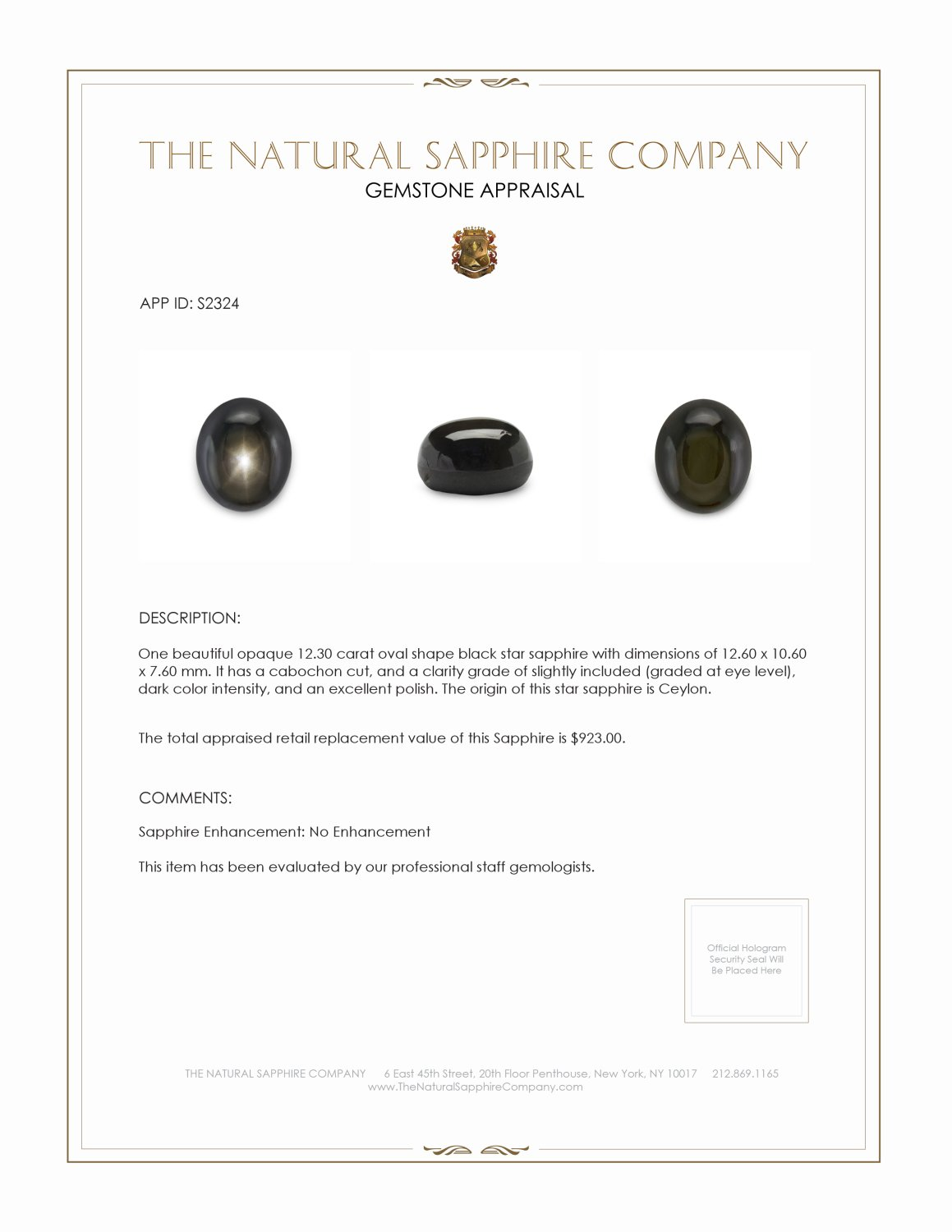 Natural Untreated Black Star Sapphire S2324 Certification 2