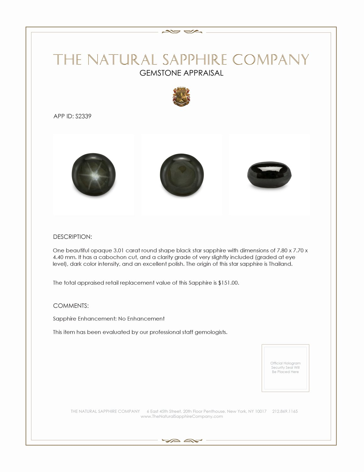 Natural Untreated Black Star Sapphire S2339 Certification 2