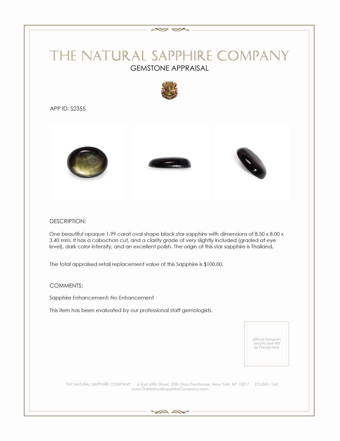 Natural Untreated Black Star Sapphire S2355 Certification 2