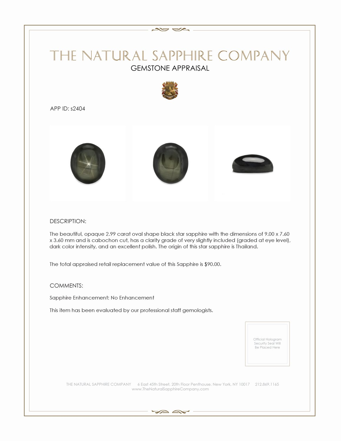 Natural Untreated Black Star Sapphire S2404 Certification 2