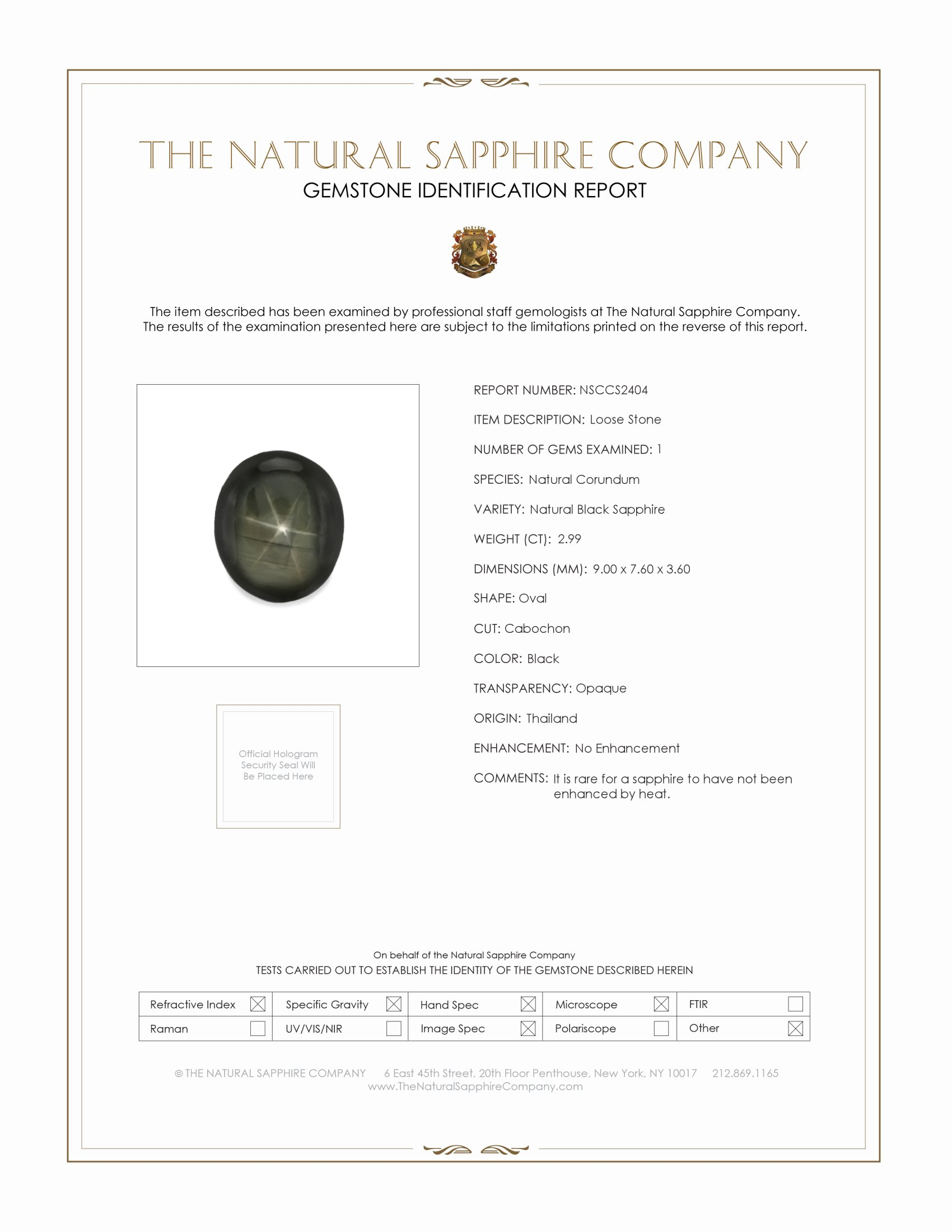 Natural Untreated Black Star Sapphire S2404 Certification