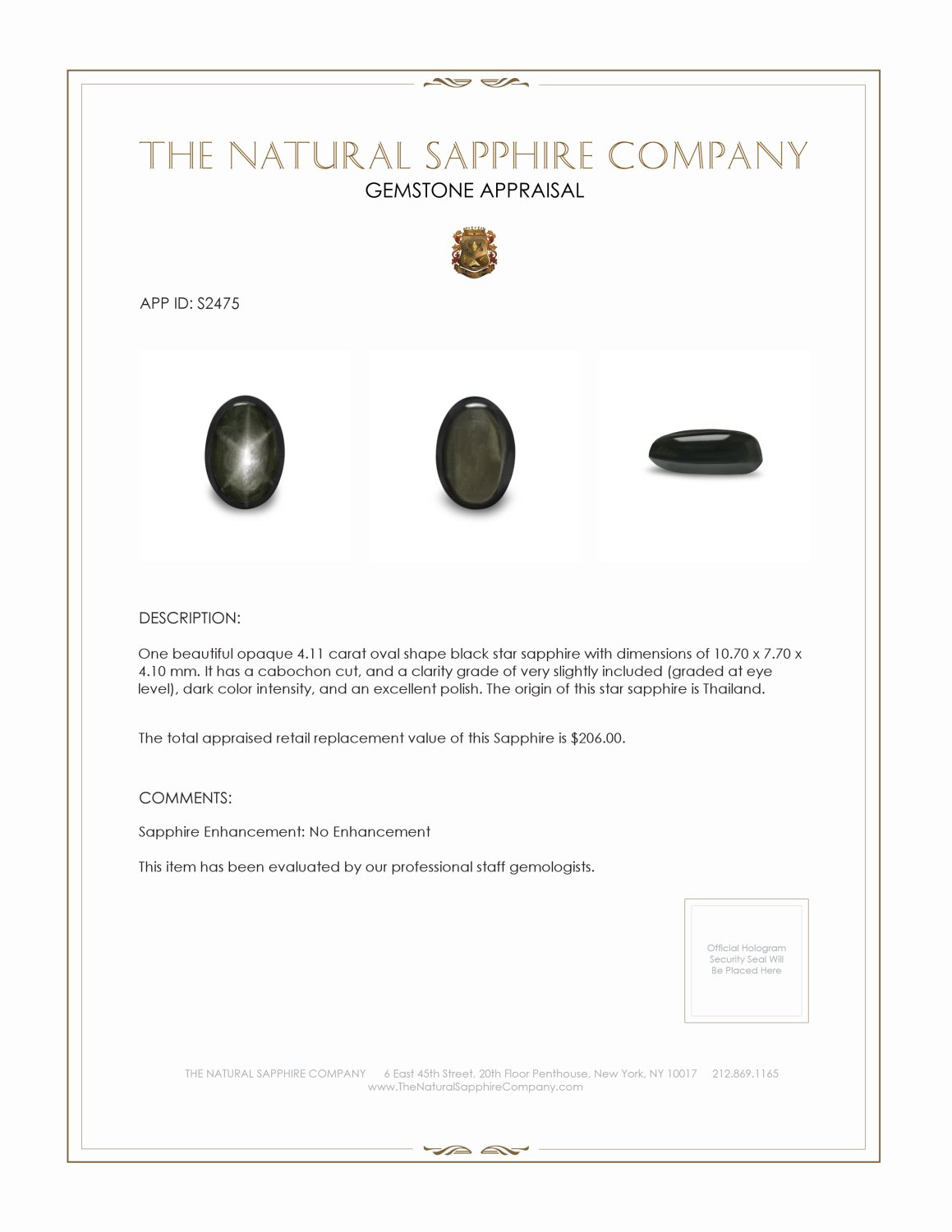 Natural Untreated Black Star Sapphire S2475 Certification 2