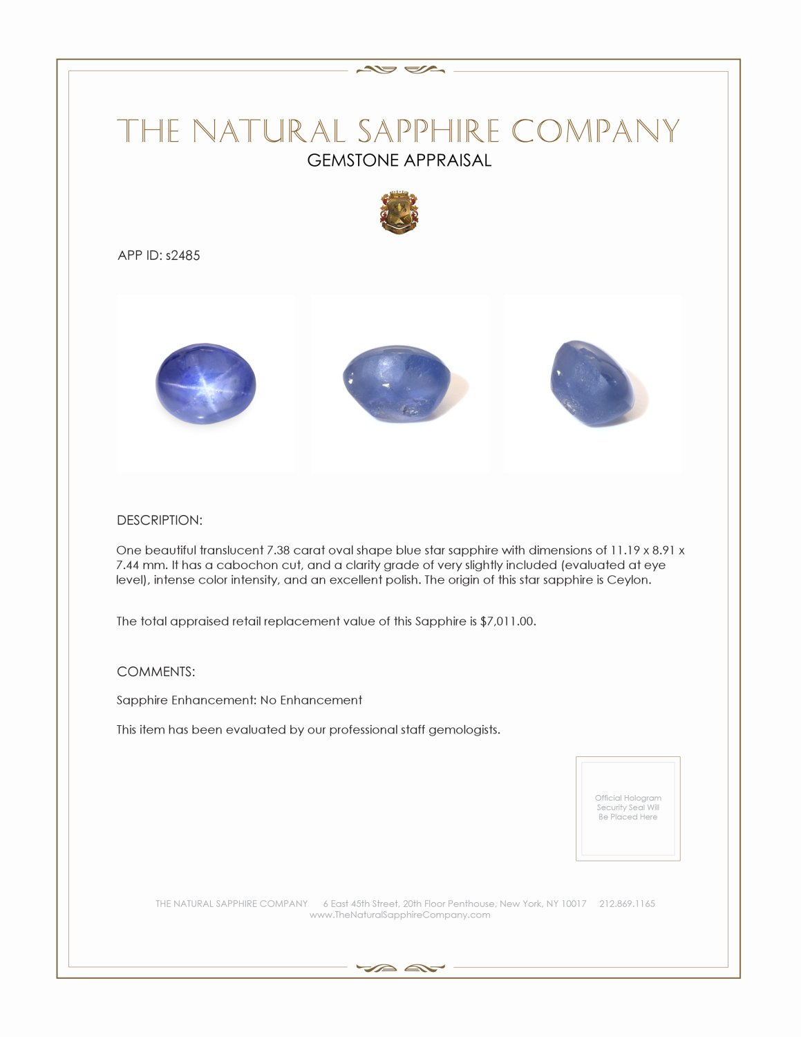 Natural Untreated Blue Star Sapphire S2485 Certification 3