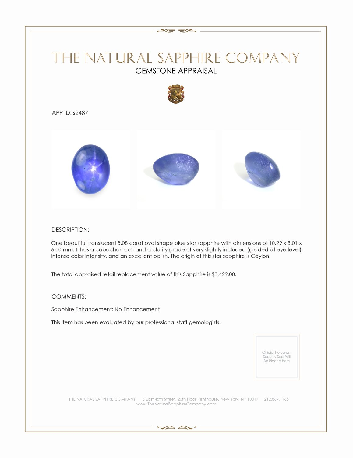 Natural Untreated Blue Star Sapphire S2487 Certification 3