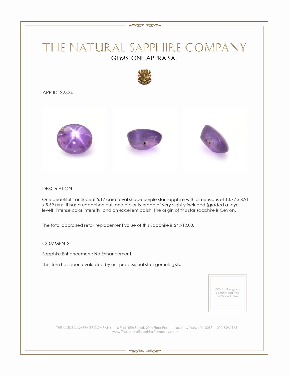 Natural Untreated Purple Star Sapphire S2524 Certification 3