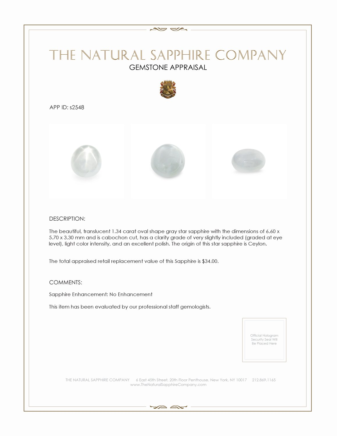 Natural Untreated Star Sapphire S2548 Certification 2