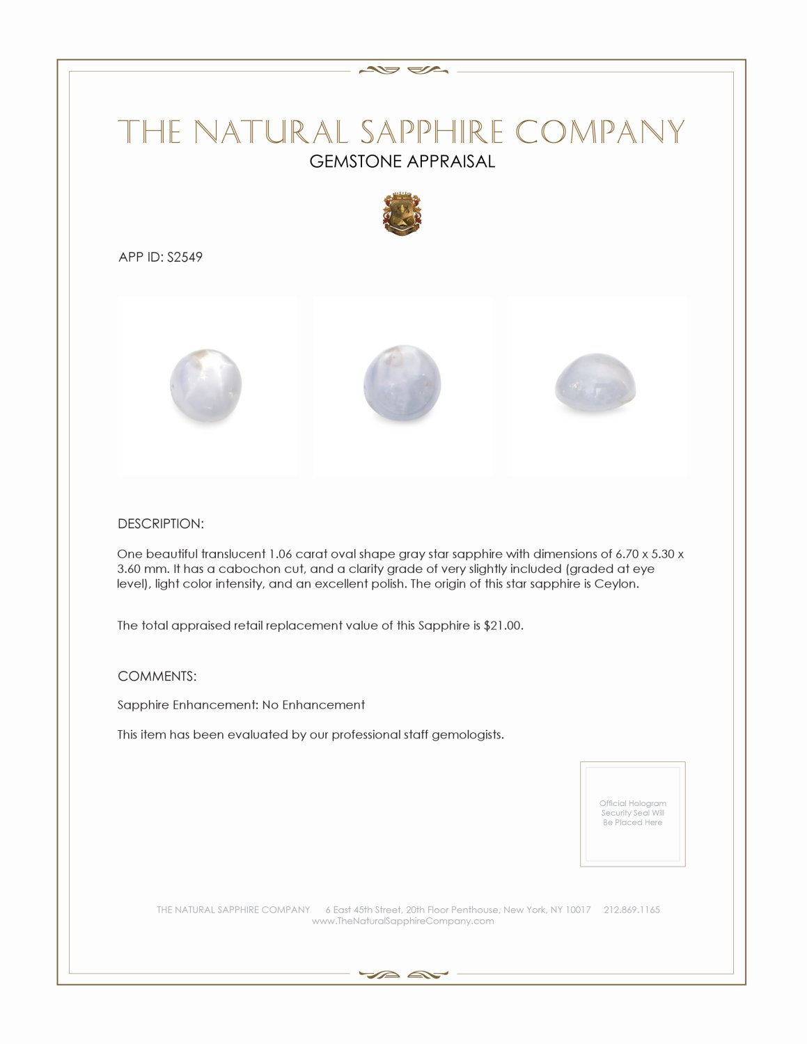 Natural Untreated Star Sapphire S2549 Certification