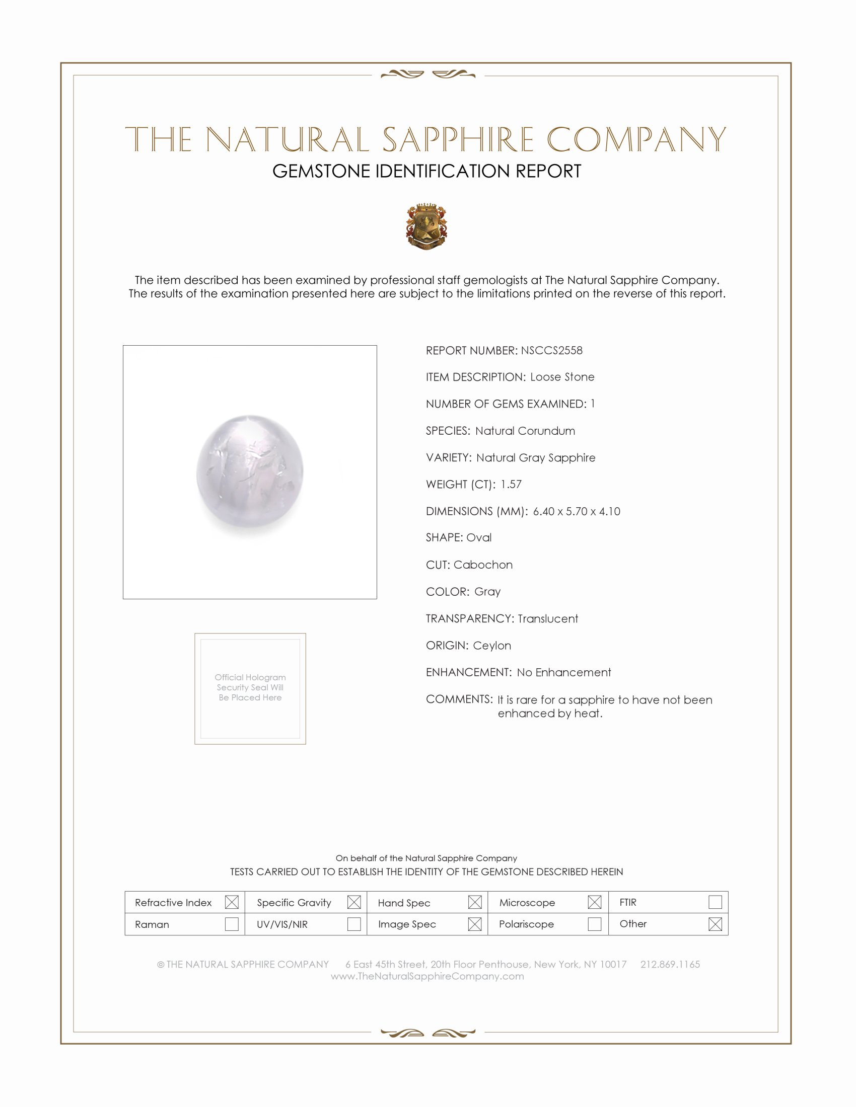 Natural Untreated Star Sapphire S2558 Certification