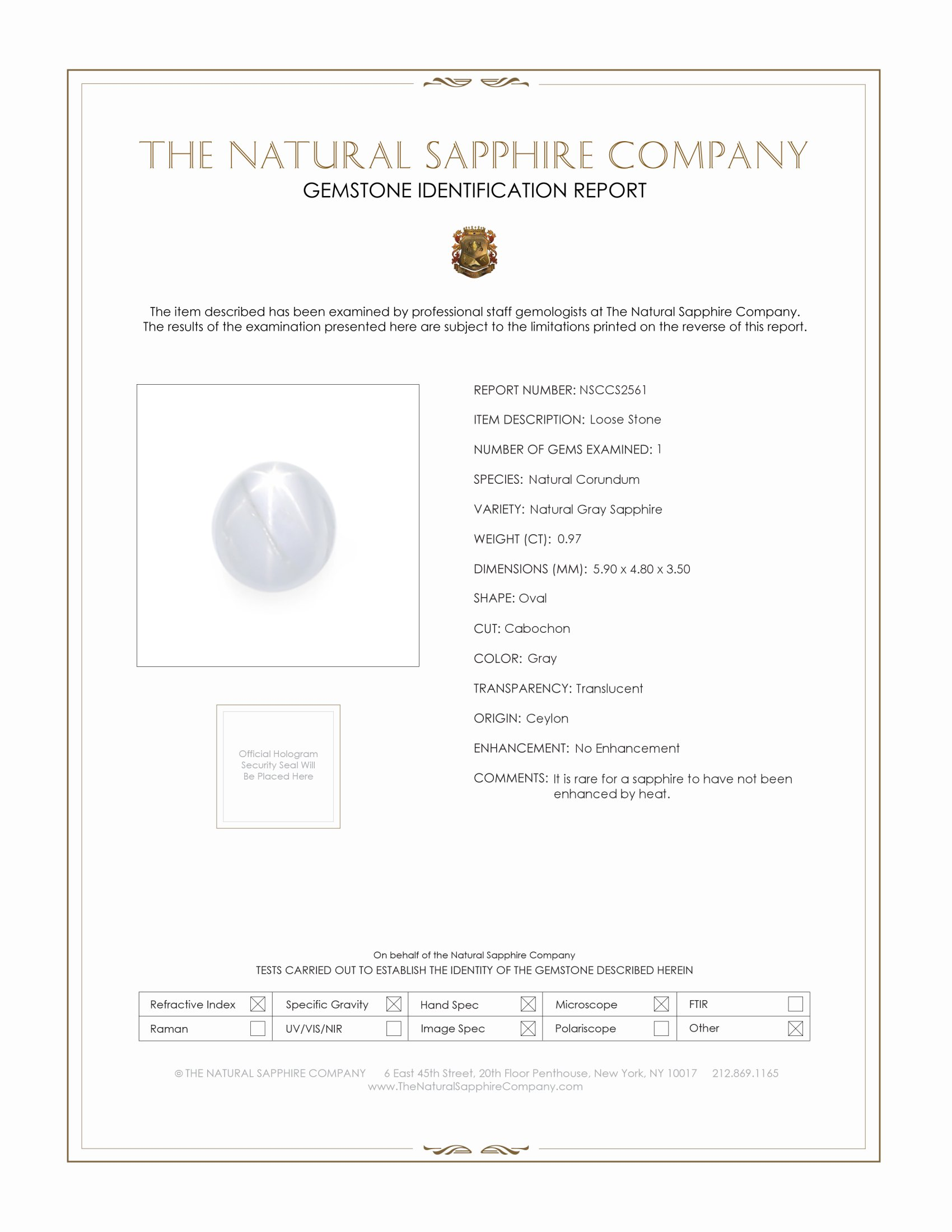 Natural Untreated Star Sapphire S2561 Certification