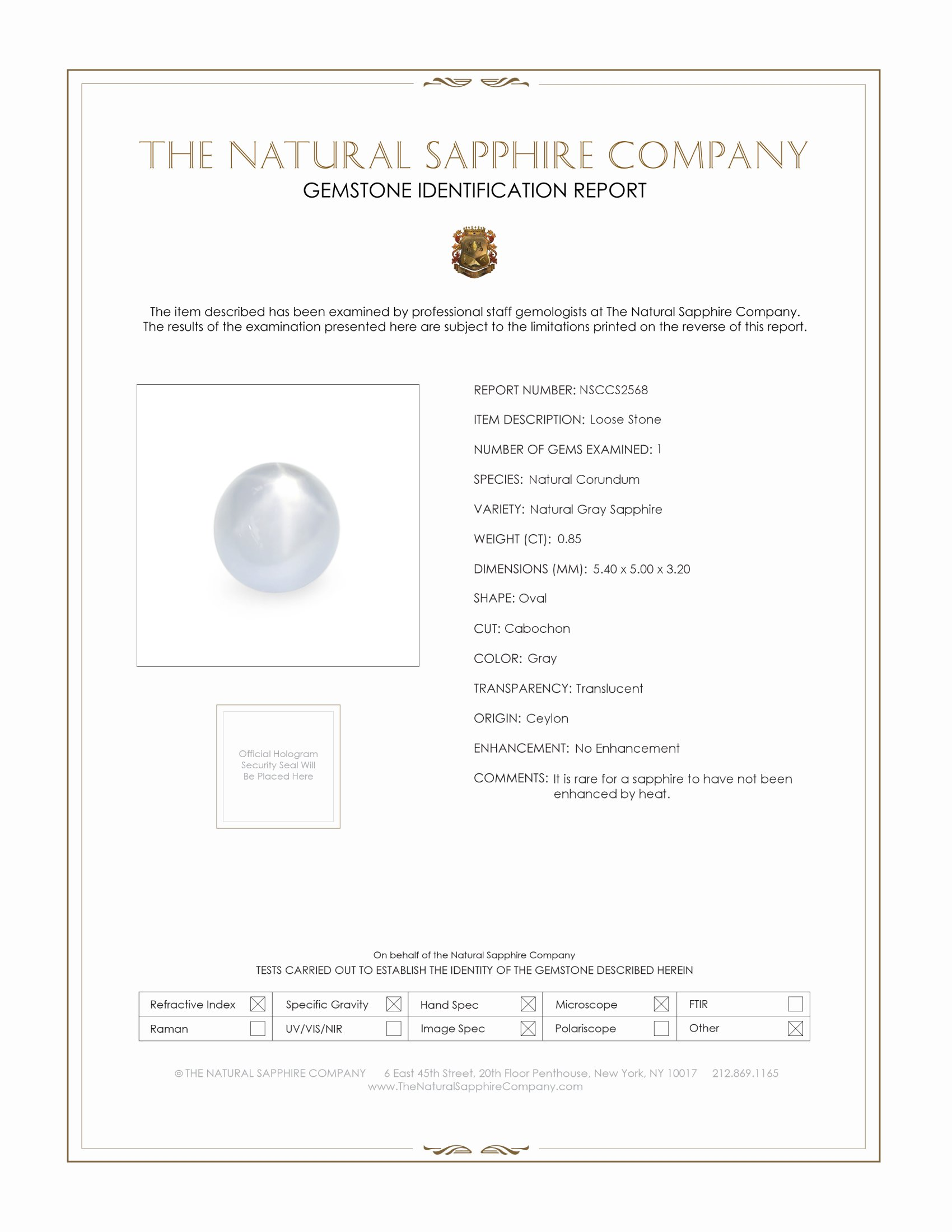 Natural Untreated Star Sapphire S2568 Certification