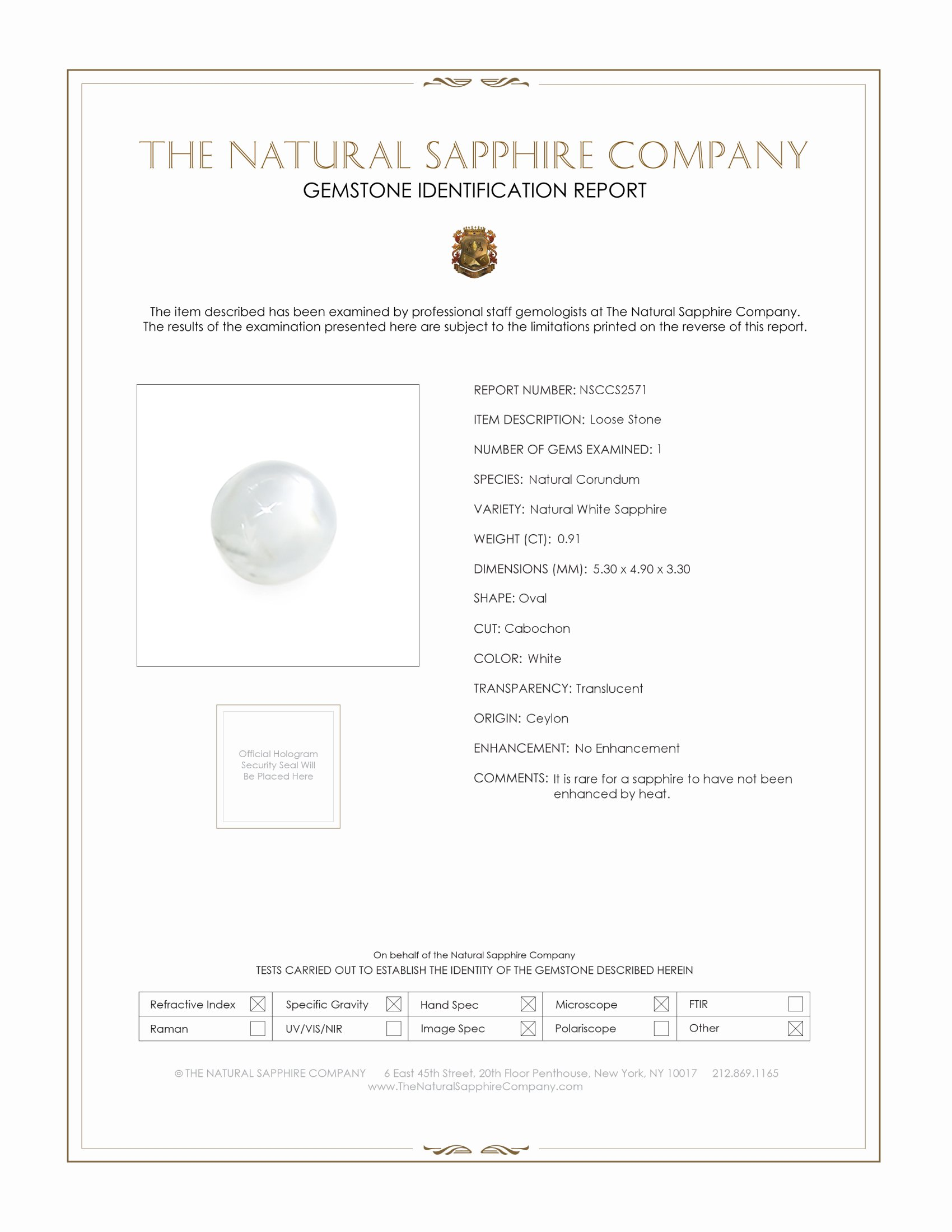 Natural Untreated Star Sapphire S2571 Certification