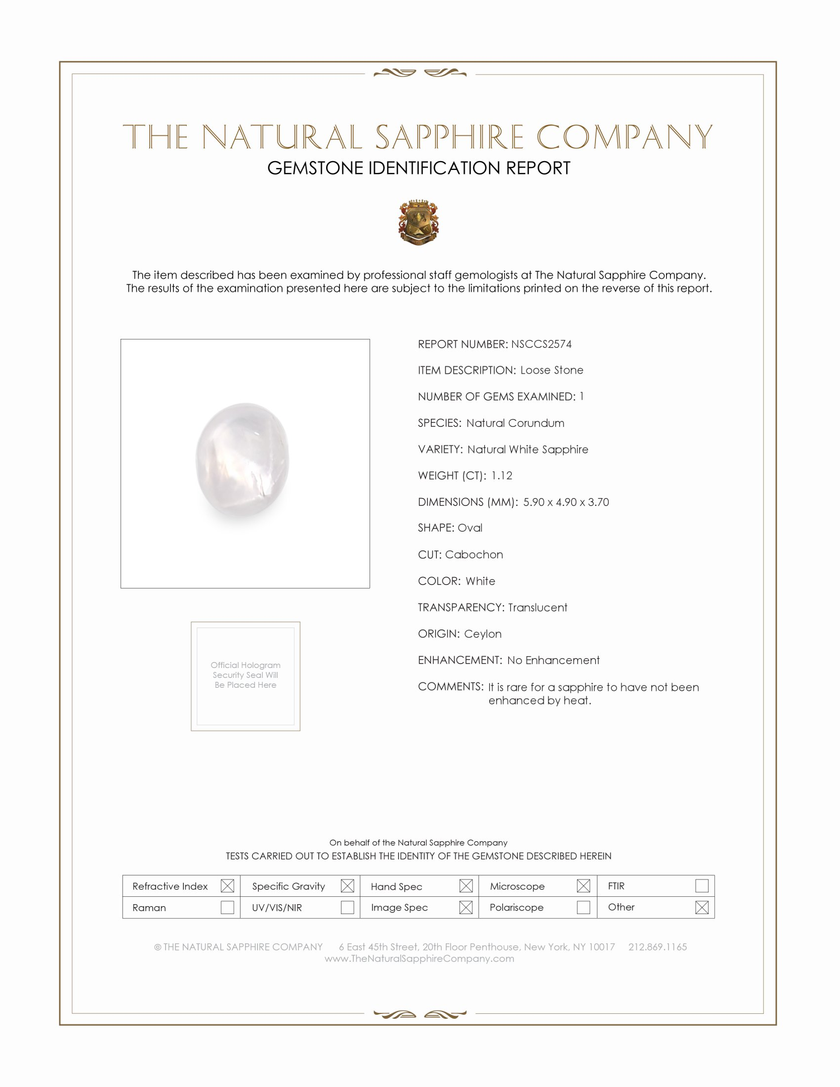 Natural Untreated Star Sapphire S2574 Certification