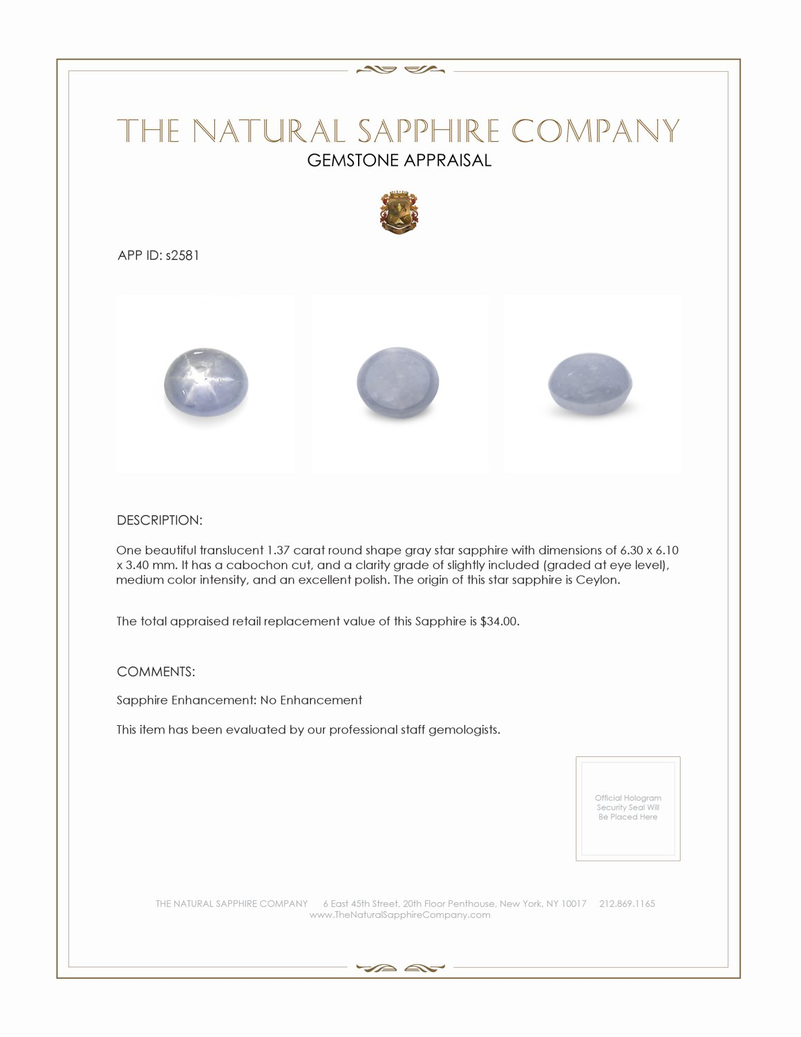 Natural Untreated Star Sapphire S2581 Certification 2