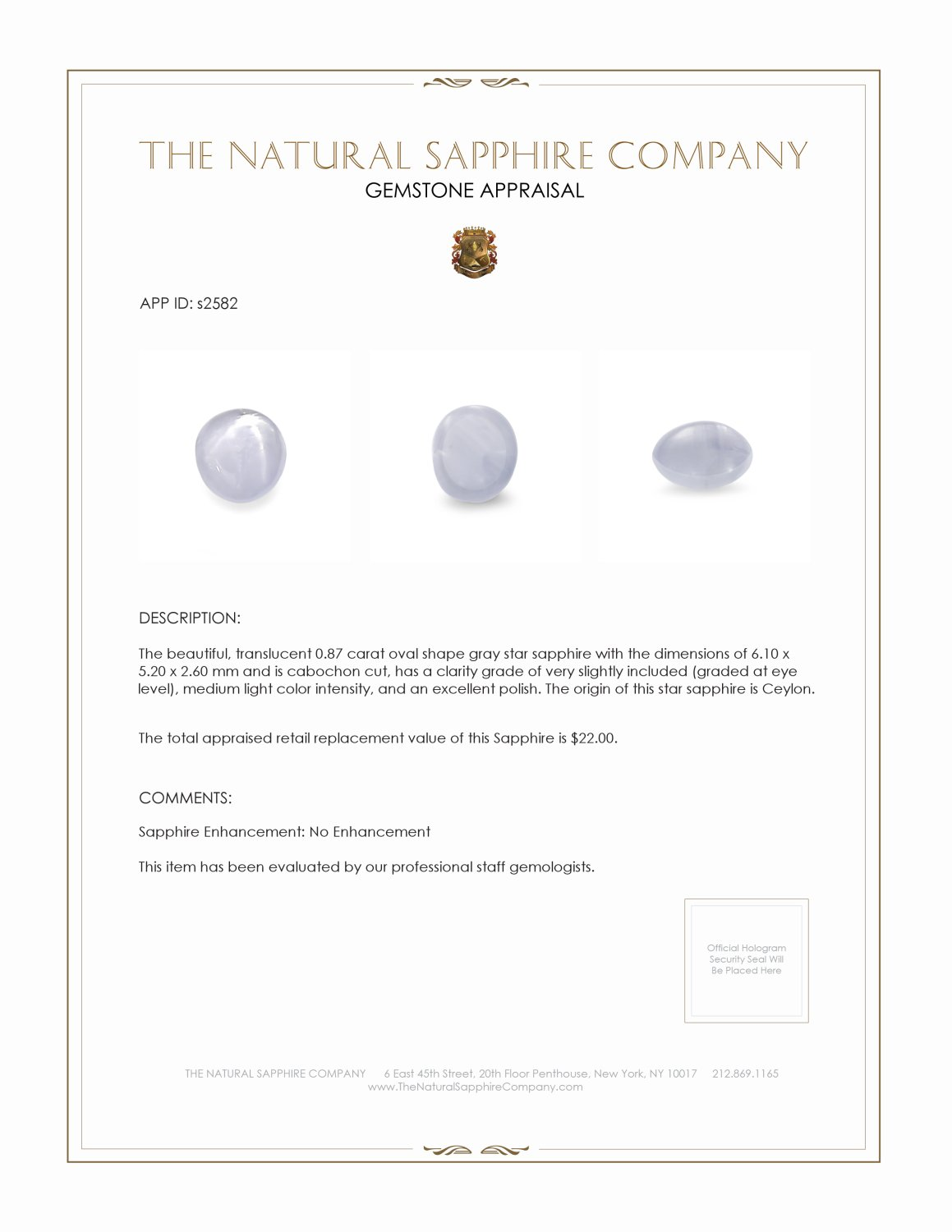 Natural Untreated Star Sapphire S2582 Certification 2