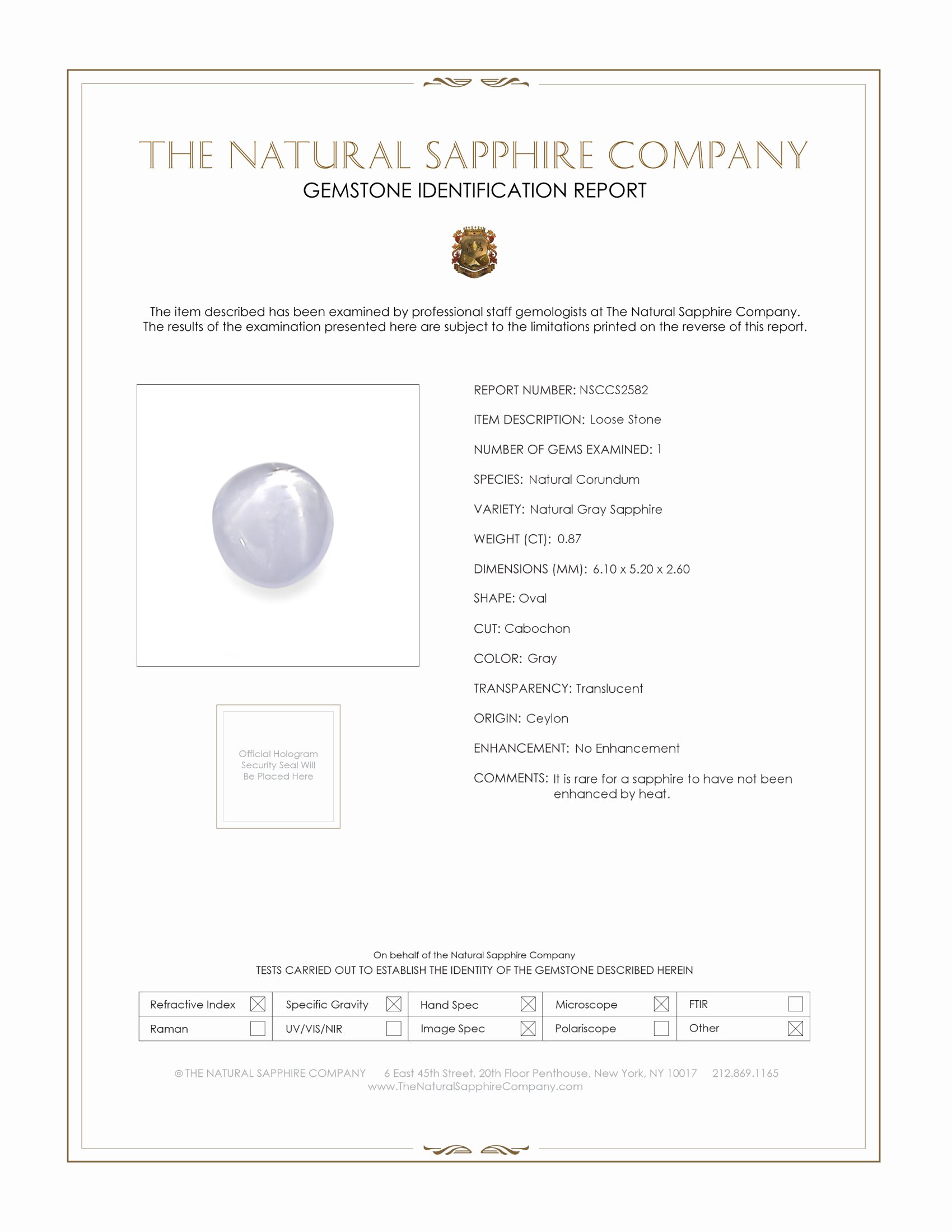 Natural Untreated Star Sapphire S2582 Certification